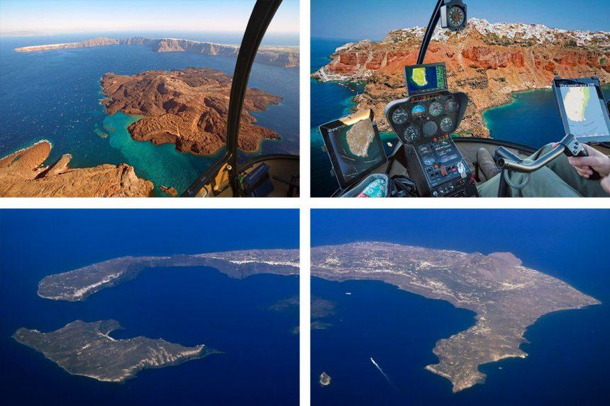 Аренда вертолёта на Санторини, вид на остров с воздуха