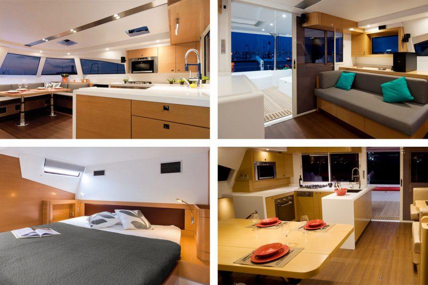 Внутреннее пространство и каюты катамарана Bavaria Nautitech 541, аренда катамаранов на Санторини