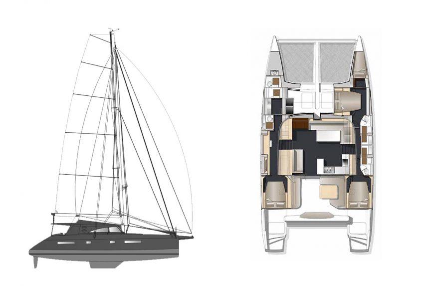 Схема с расположением элементов и устройством кают катамарана Bavaria Nautitech 541, аренда катамаранов на Санторини
