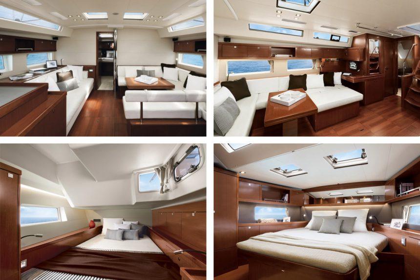Чтобы дневной свет заливал салон и каюты, в корпус Beneteau Oceanis 55 врезаны специальные большие окна, аренда яхт на Санторини